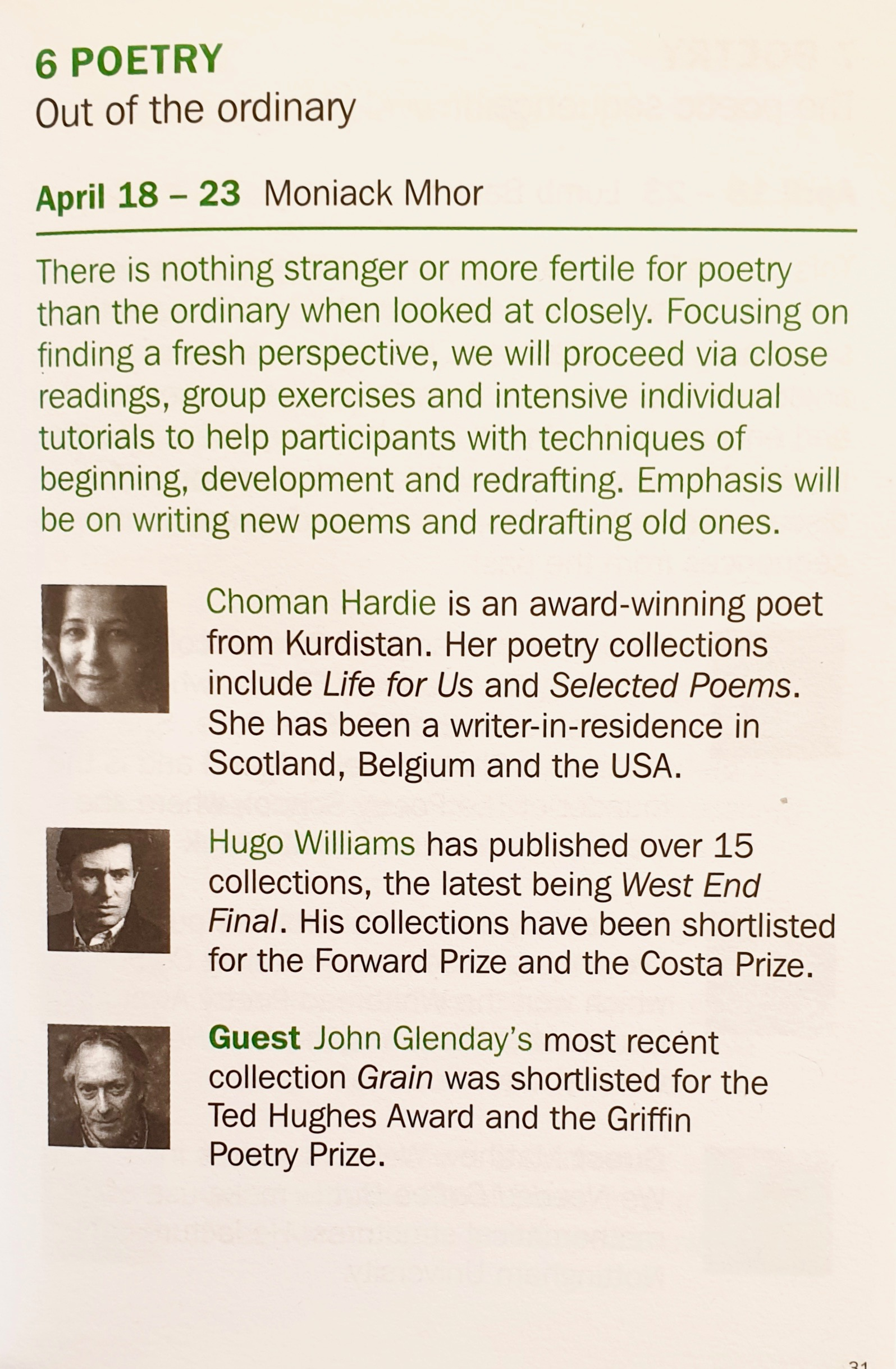 Residential Poetry Writing Course with John Glenday